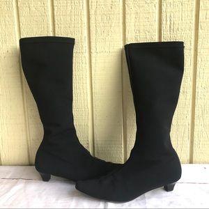 Salvatore Ferragamo Black Mesh Fabric Boots 8